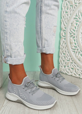 Kara Light Grey Studded Trainers