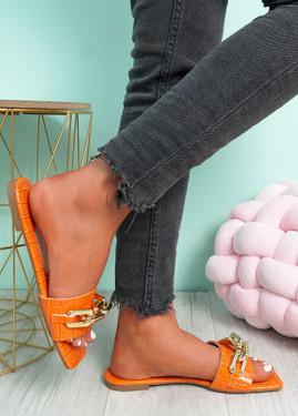Loxy Orange Croc Pattern Flat Sandals