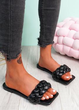 Sebba Black Square Toe Flat Sandals