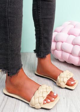 Sebba Nude Square Toe Flat Sandals