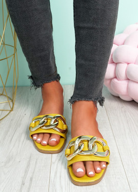Merca Yellow Front Chain Flat Sandals