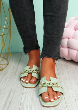 Trinna Aqua Front Chain Sandals