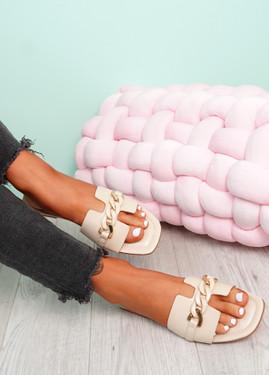 Trinna Beige Front Chain Sandals