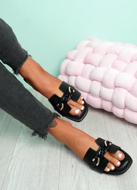 Trinna Black Front Chain Sandals