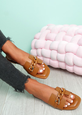 Trinna Camel Front Chain Sandals