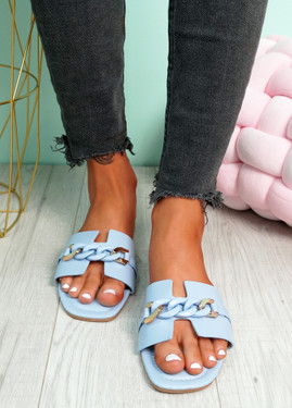 Trinna Light Blue Front Chain Sandals