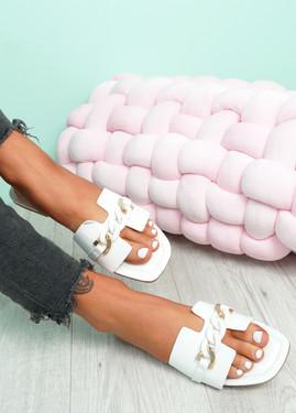 Trinna White Front Chain Sandals