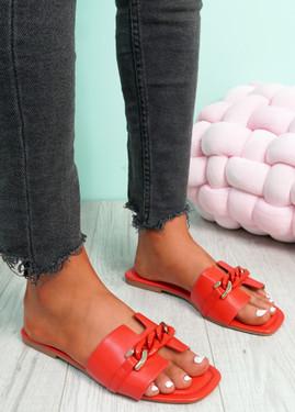 Trinna Red Front Chain Sandals