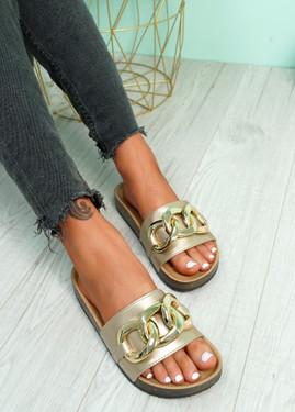 Samma Gold Platform Chain Sandals