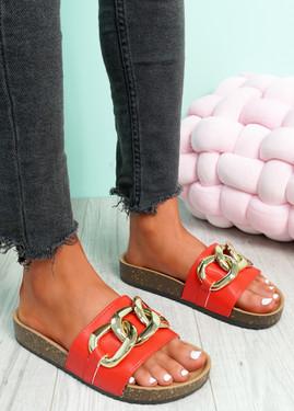 Samma Red Platform Chain Sandals