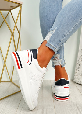 Gevy White Blue Lace Up Trainers