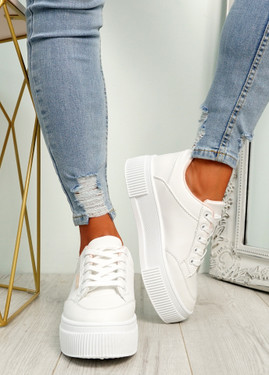 Dirry White Pink Flatform Trainers