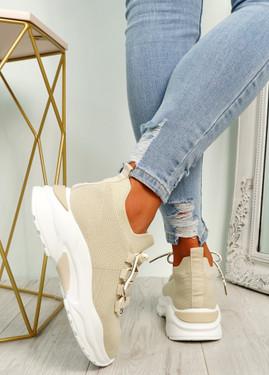 Geny Beige Chunky Sneakers