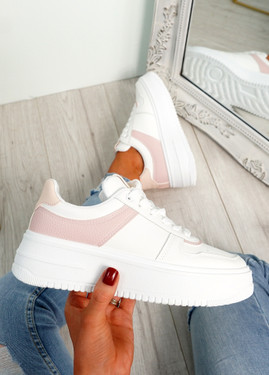Merva White Pink Platform Trainers