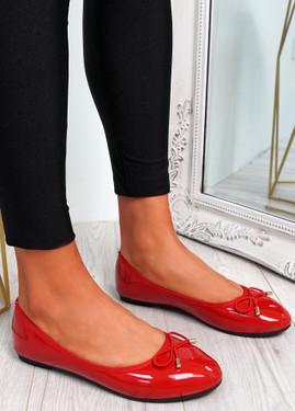 Tremo Red Slip On Ballerinas