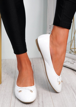 Tremo White Slip On Ballerinas