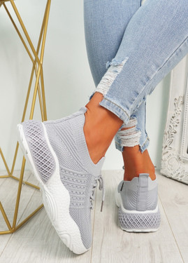 Nelly Grey Knit Running Trainers