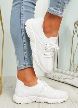 Brammi White Knit Sneakers