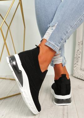 Laffy Black Slip On Knit Trainers