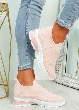 Laffy Pink Slip On Knit Trainers