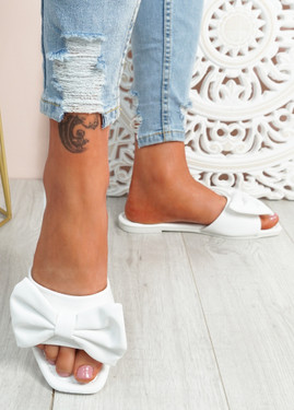 Nito White Bow Flat Sandals
