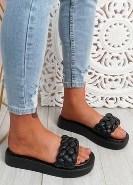 Ceny Black Braided Flat Sandals