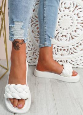 Ceny White Braided Flat Sandals