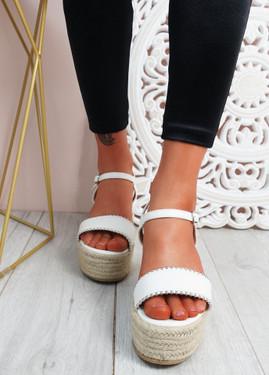 Lavy White Wedge Platform Sandals