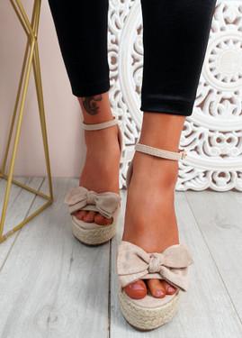 Norro Nude High Heel Wedge Sandals