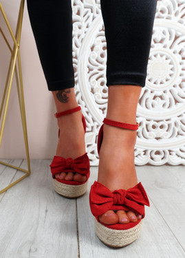Norro Red High Heel Wedge Sandals