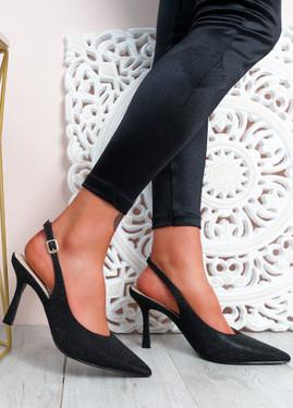 Porra Black Glitter Stiletto Pumps