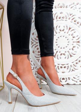 Porra Silver Glitter Stiletto Pumps