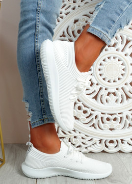 Ossy White Knit Sport Trainers