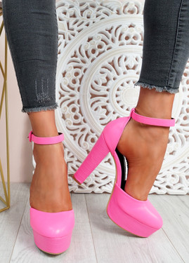 Mizza Fuchsia High Block Heel Pumps