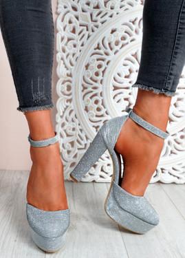 Mizza Silver High Block Heel Pumps