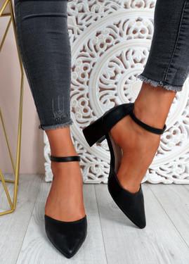 Mya Black Block Heel Ankle Strap Pumps