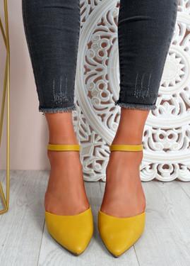 Mya Yellow Block Heel Ankle Strap Pumps