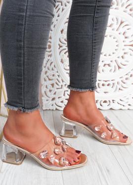 Dony Champagne Rhinestone Slip On Sandals