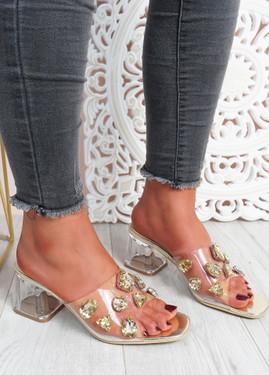 Dony Gold Rhinestone Slip On Sandals