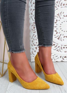 Essa Yellow Block Heel Pumps