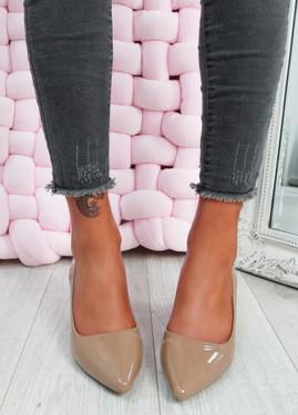 Yasmin Khaki Block Heel Pumps