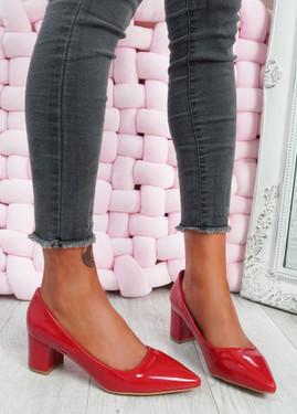 Yasmin Red Block Heel Pumps