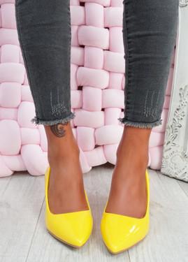 Yasmin Yellow Block Heel Pumps