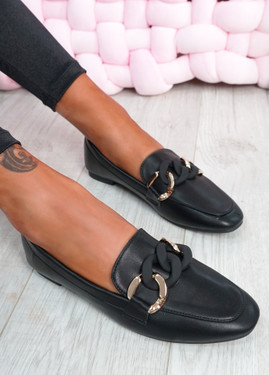 Kimberly Black Flat Ballerinas