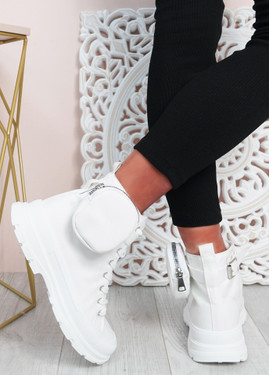 Flora White Side Pocket Trainers
