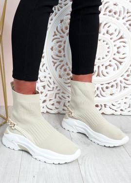 Syeda Beige Sock Sneakers