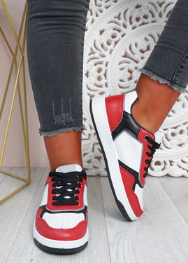 Saskia White Red Sport Sneakers