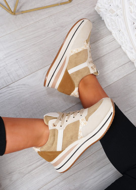 Daisy Camel Wedge Trainers