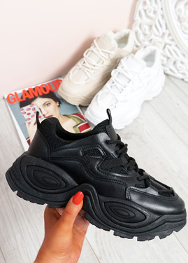 Salma Black Chunky Sneakers