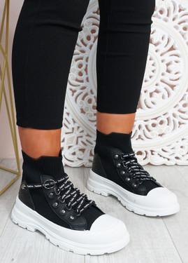 Yesenia Black Platform Knit Trainers